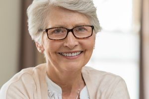 Lakewood Eye Center Senior woman wearing glasses